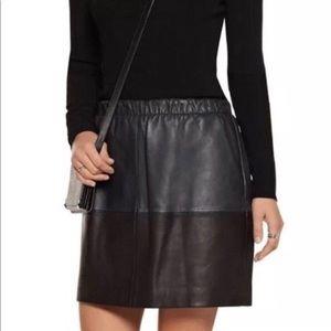 Vince Soft Lamb Leather Color Block Skirt Size Med